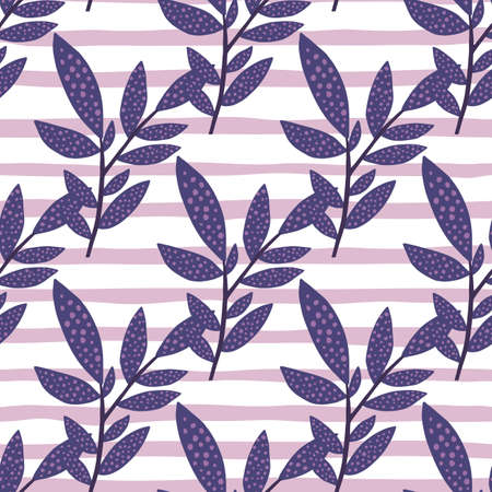 Seamless branch doodle pattern. Diagonal located foliage in navy blue color on stripped background with white and lilac lines. Great for wallpaper, textile, wrapping, fabric print. Vector illustration