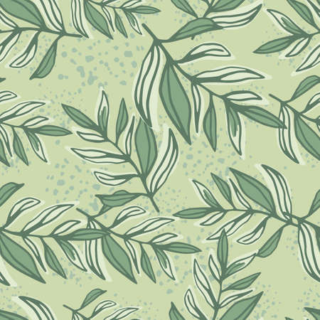 Random outline foliage silhoettes seamless pattern. Green pastel botanic ornament on light background. Great for wrapping paper, textile, fabric print and wallpaper. Vector illustration.