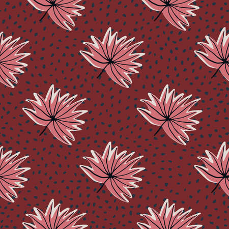 Stylized seamless pattern with hand drawn tropical leaves. Red background with dots and pink outline foliage. Great for wrapping paper, textile, fabric print and wallpaper. Vector illustration.