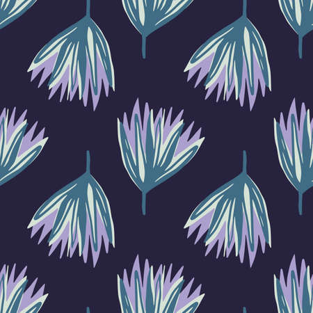 Blue and purple hand drawn tulip flowers seamless pattern. Abstract bud silhouettes on navy blue dark background. Design for wallpaper, textile, wrapping paper, fabric print. Vector illustration.