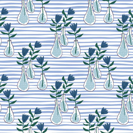 Flowers in a vase seamless hand drawn pattern. White background with strips and floral silhouettes in a navy blue color. print for wallpaper, wrapping, textile print, fabric. Vector illustration.
