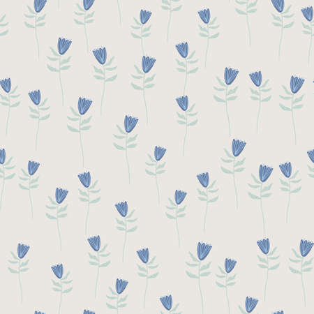 Random seamless pattern with little blue flowers shapes. Gray background. Hand drawn artwork. Great for wrapping paper, textile, fabric print and wallpaper. Vector illustration.