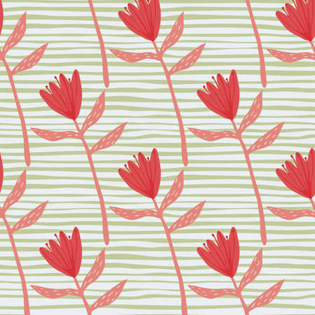 Red flowers hand drawn silhouettes minimalistic seamless pattern. Stripped green and white background. Decorative print for wallpaper, wrapping paper, textile print, fabric. Vector illustration.