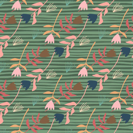 Pastel spring seamless pattern with tulip flowers. Stripped green background with multicolor floral ornament. Perfect for wallpaper, textile, wrapping paper, fabric print. Vector illustration.