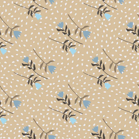 Autumn seamless pattern with flower ornament. Beige background with dots and blue tulips. Tender design. Decorative backdrop for wallpaper, textile, wrapping paper, fabric print. Vector illustration.