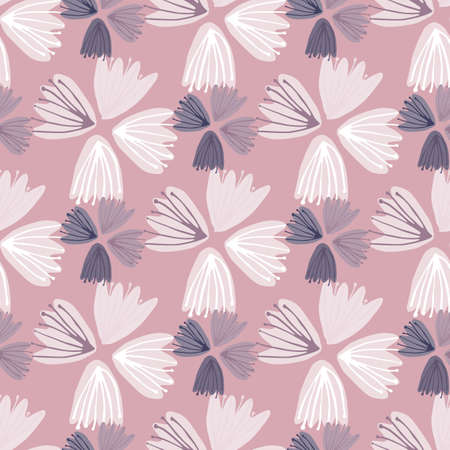 White tulip buds seamless doodle pattern. Stylized print with light purple backgound. Nature backdrop. Perfect for wallpaper, textile, wrapping paper, fabric print. Vector illustration.