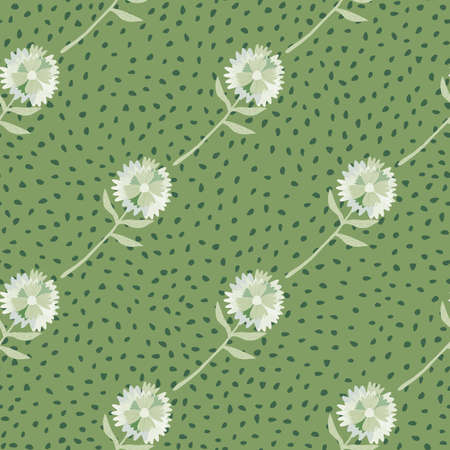 White dandelion diagonal ornament seamless pattern. Green background with black dots. Perfect for wallpaper, textile, wrapping paper, fabric print. Vector illustration. Stock Illustratie