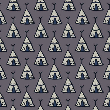 Wigwam ornament seamless doodle pattern. Simple tribal elements on dark gray background. Decorative print for wallpaper, textile, wrapping paper, fabric print. Vector illustration.