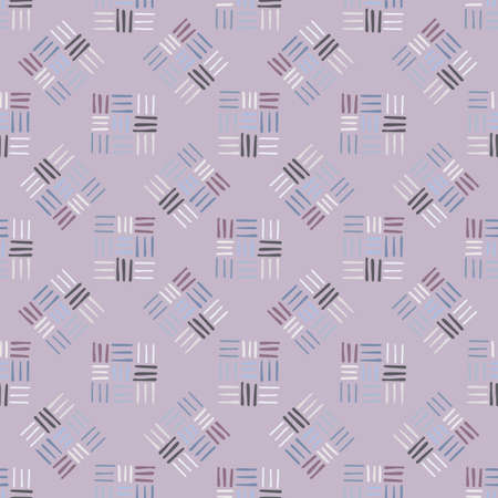 Dash ornament seamless simple pattern. Little pastel line elements on soft violet background. Great backdrop for wallpaper, textile, wrapping paper, fabric print. Vector illustration.