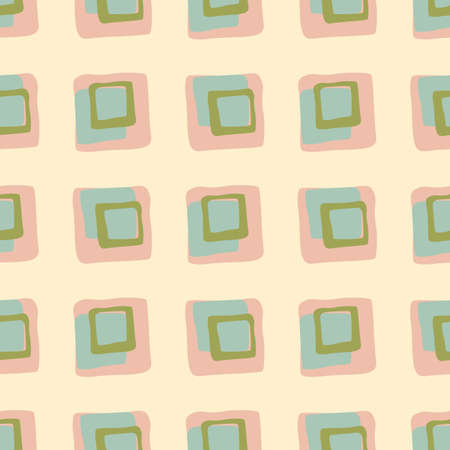 Square hand drawn ornament seamless pattern. Light pink background with green and blue ornament. Designed for wallpaper, textile, wrapping paper, fabric print. Vector illustration.