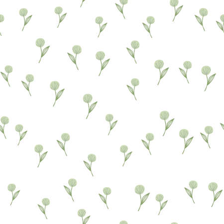 Hand drawn random dandelion seamless pattern on white background. For fabric design, textile print, wrapping, cover. Vector illustration.