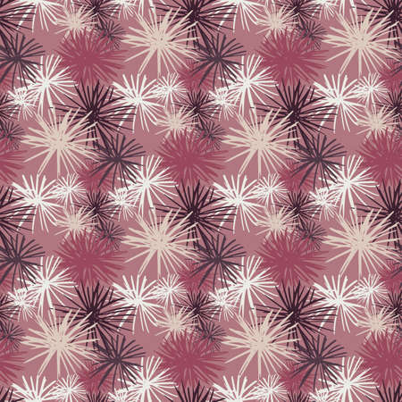 Sea urchin seamless doodle hand drawn pattern. Surface theme backdrop with white pompons on dark lilac background. Decorative print for wallpaper, textile, wrapping, fabric print. Vector illustration