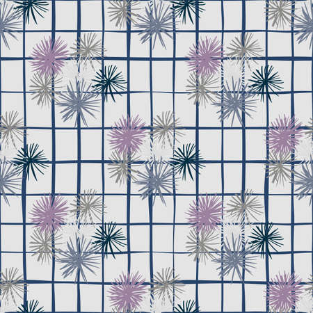 Hand drawn seamess doodle pattern with sea urchin ornament. Gray background with check. Ocean elements on purple and navy blue tones. Decorative print for wallpaper, textile, wrapping, fabric print