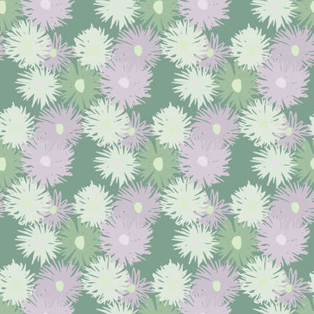 Seamless spring pattern with chrysanthemum silhouettes. Pale background and soft purple and green flowers. Çizim