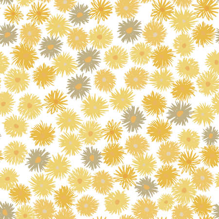 Isolated chrysanthemum seamless pattern. Hand drawn seamless elements with yellow flowers on white background.