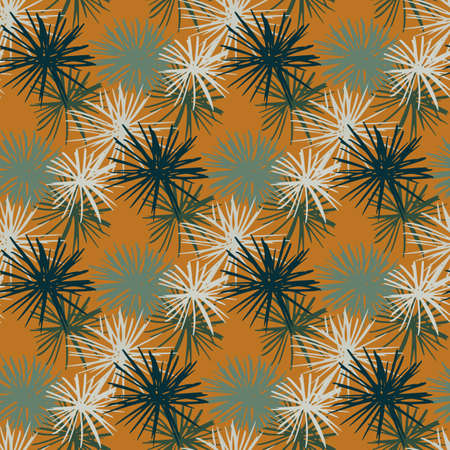 Seamless star urchin abstract silhouettes pattern. White, gray and navy blue ocean ornament on orange background.
