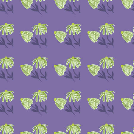 Bright contrast seamless stylized pattern with little flower silhouettes. Light purple background. Designed for wallpaper, textile, wrapping paper, fabric print. Vector illustration.