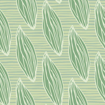 Pastel green leafs seamless hand drawn pattern. Stylized outline ornament with stripped background. Perfect for wallpaper, textile, wrapping paper, fabric print. Vector illustration.