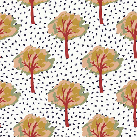 Autumn tree silhouettes seamless pattern. Forest ornament in orange and red tones. White background with dots. Designed for wallpaper, textile, wrapping paper, fabric print. illustration.