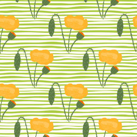 Spring poppy ornament seamless pattern. Orange flowers with stripped background in green color. Great for wallpaper, textile, wrapping paper, fabric print. illustration.