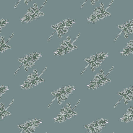 Pale seamless doodle pattern with outline branches. Gray background. Simple floral print. Decorative backdrop for wallpaper, textile, wrapping paper, fabric print. Vector illustration.