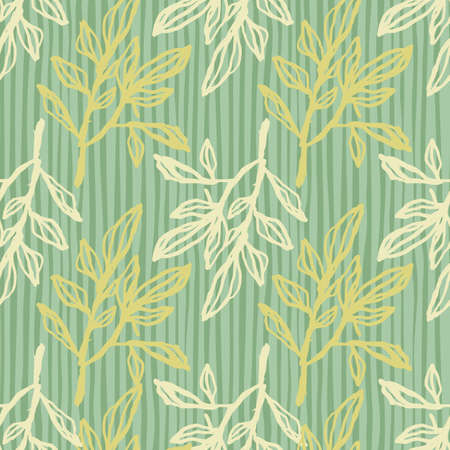 Light and yellow outline branch silhouettes seamless pattern. Doodle botanic ornament with green stripped background. Great for wallpaper, textile, wrapping paper, fabric print. Vector illustration.