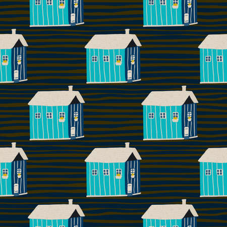 Blue houses seamless pattern stylized print. Black stripped background. Creative architecture simple backdrop. Great for wallpaper, textile, wrapping paper, fabric print. Vector illustration.