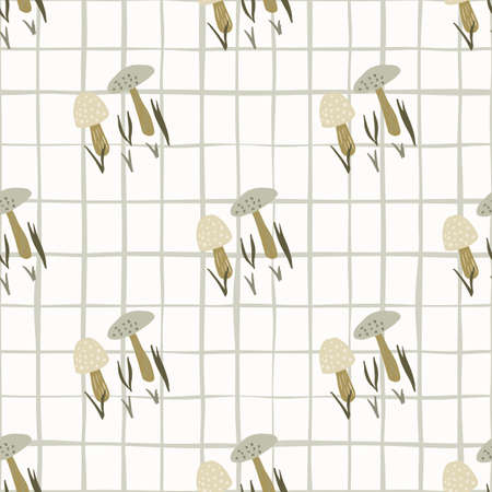 Light beige and gray mushrooms seamless pattern. Doodle wild forest print with white checkered background. Designed for wallpaper, textile, wrapping paper, fabric print. Vector illustration. Vetores