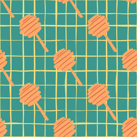 Bright contrast seamless pattern with orange honey spoons. Turquoise checkered background. Designed for wallpaper, textile, wrapping paper, fabric print. Vector illustration.