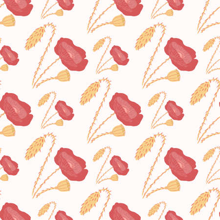 Isolated seamless doodle pattern with flower ornament. Red and orange tones hand drawn poppies on white background. Great for wallpaper, textile, wrapping paper, fabric print. Vector illustration.