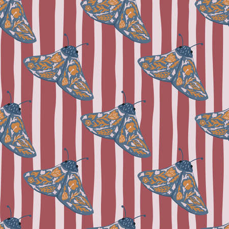 Creative seamless pattern with folk insect stylized moles. Blue butterflies with orange details on stripped background with maroon and gray lines. Vector illustration. Ilustracja