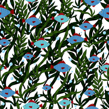 Random seamless pattern with doodle blue fish silhouettes and green seaweeds. Isolated print with white background. Perfect for wallpaper, textile, wrapping paper, fabric print. Vector illustration.