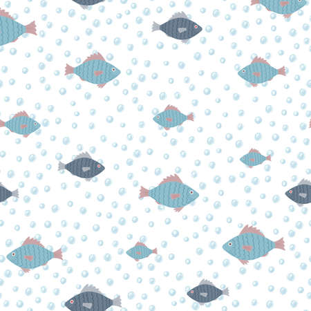 Isolated blue fish ornament random silhouettes seamless pattern. Light sea bubbles on white background. Plankton print. Perfect for wallpaper, textile, wrapping paper, fabric. Vector illustration. Vectores