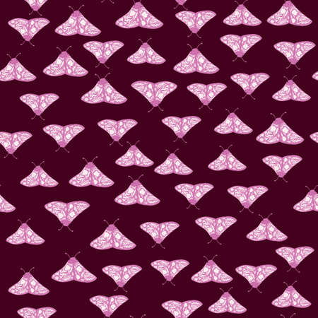 Little pink butterfly ornament seamless doodle pattern. Hand drawn moth elements on dark maroon background. Designed for wallpaper, textile, wrapping paper, fabric print. Vector illustration. Ilustracja