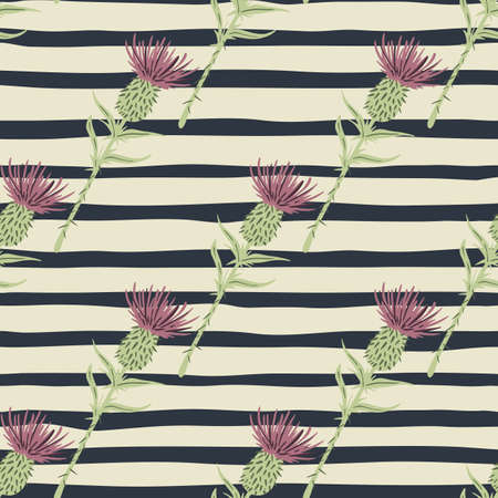 Seamless pattern with burdock hand drawn silhouettes. Green stems and purple buds elements on stripped background. Designed for wallpaper, textile, wrapping paper, fabric print. Vector illustration.