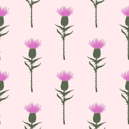 Burdock flower silouettes seamless pattern. Pink buds with green stems on light soft pink background. Designed for wallpaper, textile, wrapping paper, fabric print. Vector illustration.