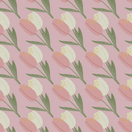 Pale pink tulip ornament seamless pattern. Doodle flowers with green stems stylized print. Designed for wallpaper, textile, wrapping paper, fabric print. Vector illustration. Ilustracja