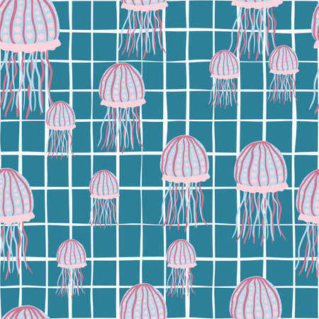 Random jellyfish seamless pattern in pink and blue tones. Underwater print with turquoise checkered background. Perfect for wallpaper, textile, wrapping paper, fabric print. Vector illustration.