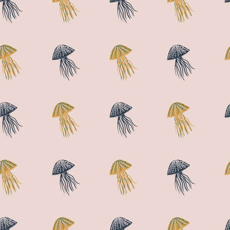 Orange and navy blue colored jellyfish silhouettes seamless pattern. Pale light pink colored background. Designed for wallpaper, textile, wrapping paper, fabric print. Vector illustration.