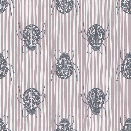 Fauna seamless pattern with folk bugs silhouettes. Pale purple insects print on stripped background. Animal nature artwork. Perfect for wallpaper, textile, wrapping, fabric. Vector illustration.