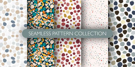 Set of pebble seamless doodle patern. Abstract stones backdrop collection. Decorative backdrop for wallpaper, textile, wrapping, fabric print. Vector illustration.
