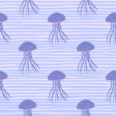 Simple jellyfish figures seamless pattern. Creative sketch artworj with stripped background. Aqua blue palette. Designed for wallpaper, textile, wrapping paper, fabric print. Vector illustration. Vectores