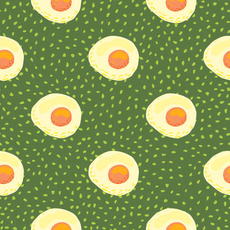 Bright morning breakfast seamless pattern with omelette ornament. Green dotted background. Egg healthy meal backdrop. Great for wallpaper, textile, wrapping paper, fabric print. Vector illustration. Иллюстрация