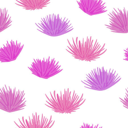 Simple isolated flower bud seamless pattern. Thorn botanic print in pink and lilac colors on white background. Great for wallpaper, textile, wrapping paper, fabric print. Vector illustration.