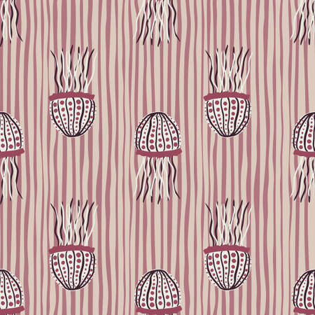 Doodle seamless marine pattern with sea jellyfishes. Exotic fish print with stripped background. Perfect for wallpaper, textile, wrapping paper, fabric print. Vector illustration.