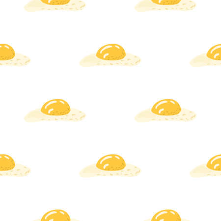 Healthy breakfast seamless isolated pattern with doodle omelette elements. Egg simple meal artwork with white background. Great for wallpaper, textile, wrapping, fabric print. Vector illustration