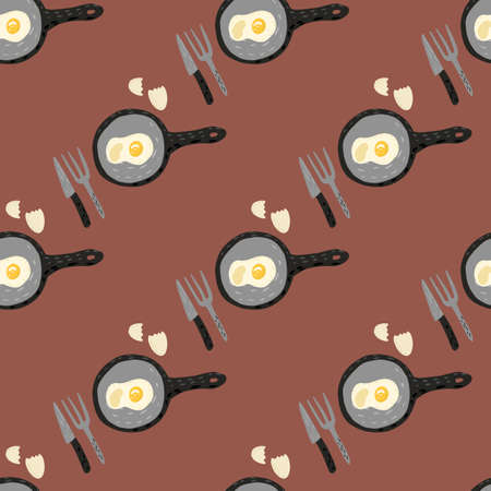 Breakfast with eggs seamless doodle pattern. Dishware ornament with omelette on brown background. Perfect for wallpaper, textile, wrapping paper, fabric print. Vector illustration. Иллюстрация