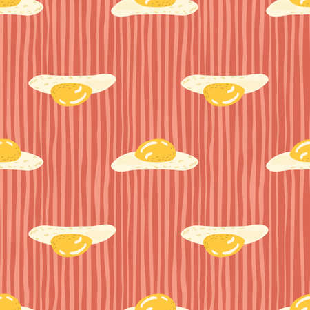 Abstract breakfast food seamless doodle pattern. Omelette elements in red stripped background. Brunch backdrop. Great for wallpaper, textile, wrapping paper, fabric print. Vector illustration.