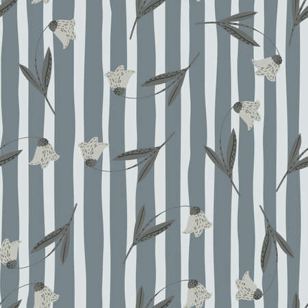 Seamless random pattern with bluebell flowers ornament. Striped background. Gray palette botanic artwork. Designed for fabric design, textile print, wrapping, cover. Vector illustration.