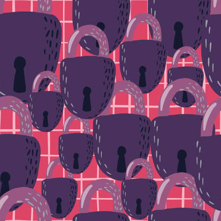 Random lock ornament seamless doodle pattern. Purple secret victorian elements on pink checkered background. Perfect for wallpaper, textile, wrapping paper, fabric print. Vector illustration.
